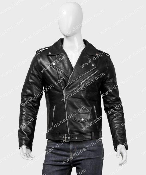 Mens Style Black Asymmetrical Zipper Motorcycle Leather Jacket