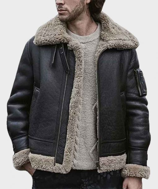 Mens Sheepskin Leather Black Shearling Jacket