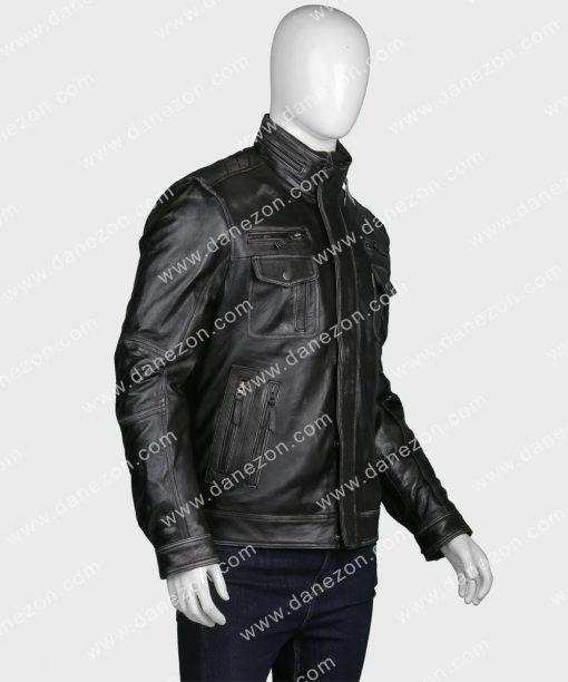 Black Zipper Pocket Mens Leather Jacket