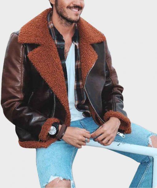 Mens Aviator Distressed Brown Winter Shearling Jacket