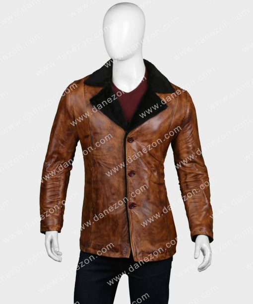 Mens Distressed Brown Black Shearling Leather Coat