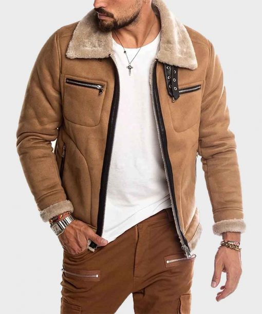 Brown Faux Shearling Winter Suede Leather Jacket for Mens