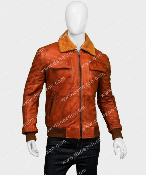 Mens Distressed Brown Waxed Aviator Bomber Leather Jacket