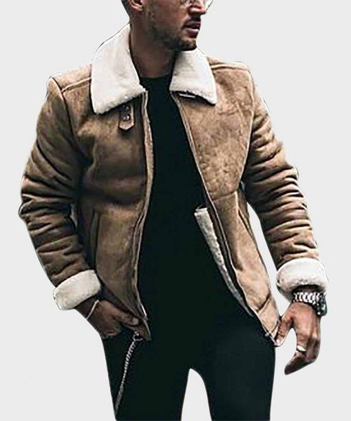 Mens Brown Shearling Sheepskin Aviator Leather Jacket