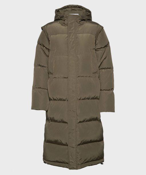 Mens Hooded Puffer Long Coat