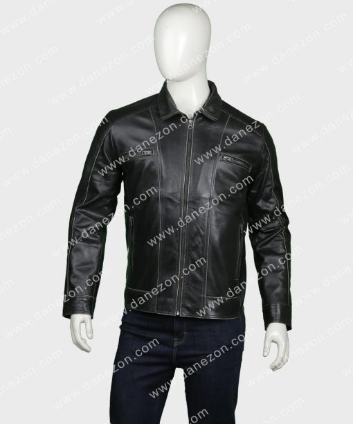 Mens Black Chris Wellford Leather Jacket