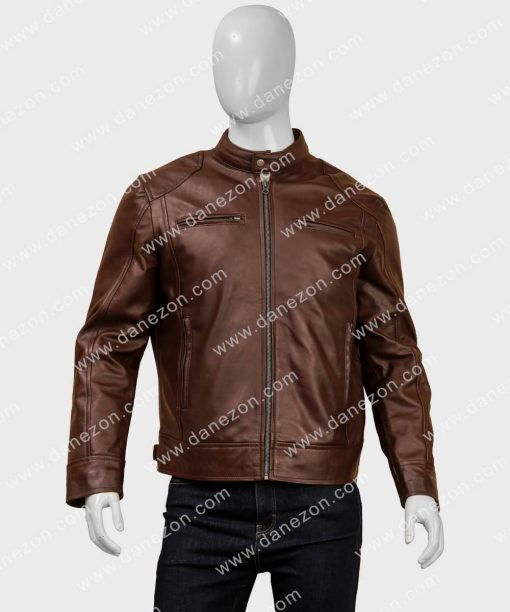 Classic Mens Brown Cafe Racer Leather Jacket