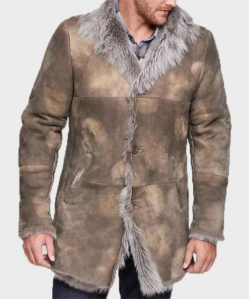 Distressed Fur Winter Shearling Leather Coat