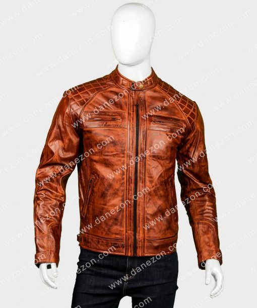 Mens Cafe Racer Brown Distressed Quilted Shoulder Leather Jacket