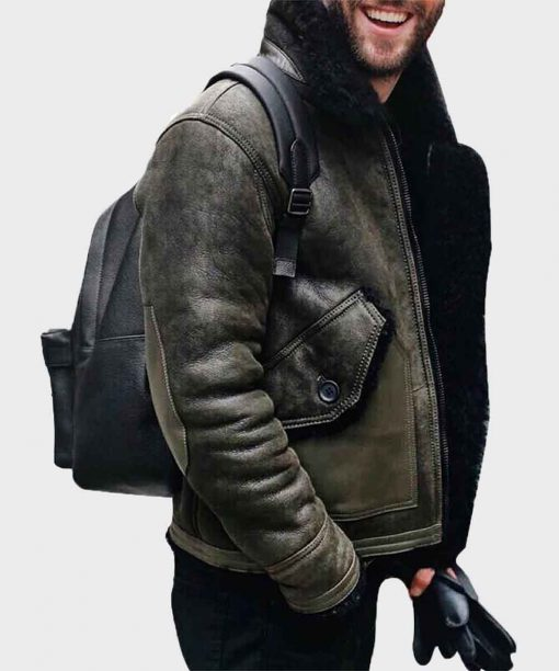 Mens Distressed Shearling Military Green Leather jacket