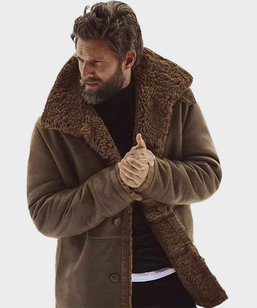 Winter Shearling Brown Sheepskin Leather Jacket for Mens Outfits