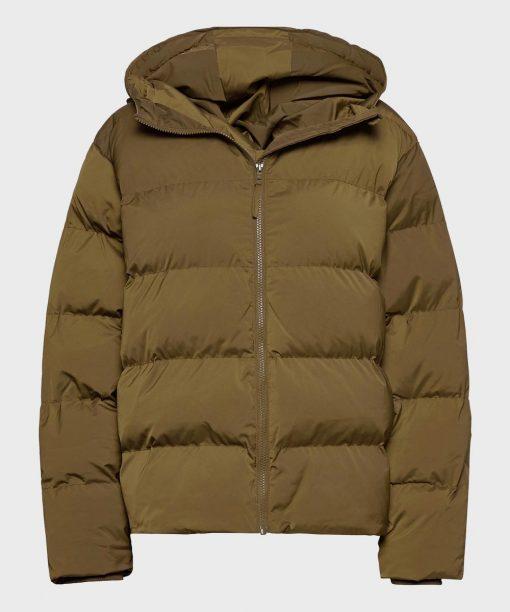 Mens Brown Winter Hooded Puffer Jacket