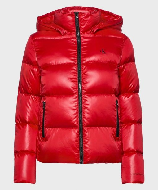 Mens Parachute Red Puffer Jacket with Hood