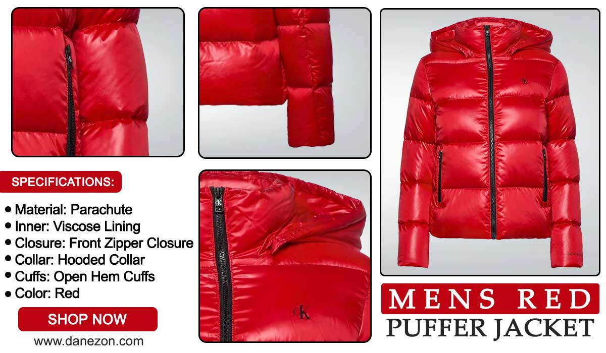 Hooded Red Puffer Jacket For Men