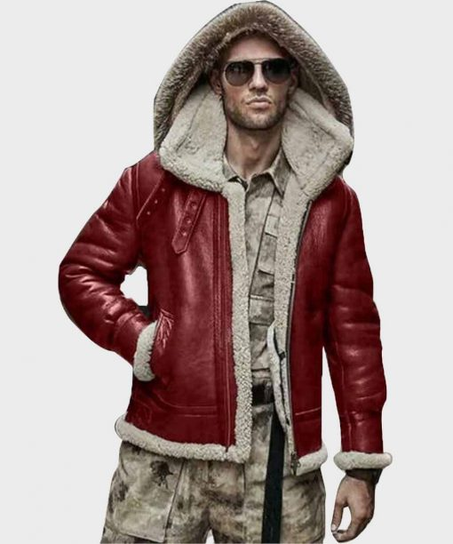 Mens Sheepskin Real Leather Shearling Red Hooded Jacket