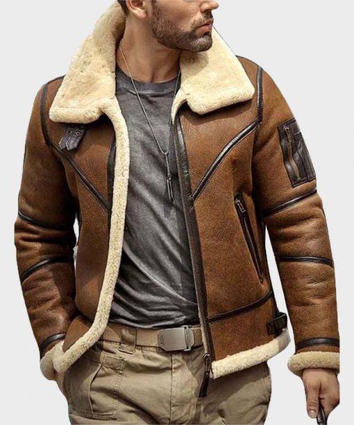 Mens B3 Flight Sheepskin Leather Shearling Aviator Jacket