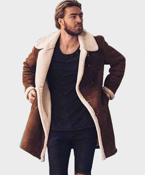 Mens Shearling Mid-Length Brown Leather Coat for Mens Outfits