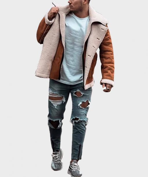 Brown Leather Winter Shearling Jacket for Mens