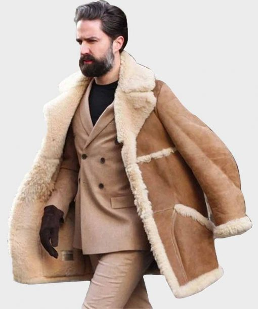 Winter Tan Fur Brown Shearling Leather Jacket for Mens Outfits