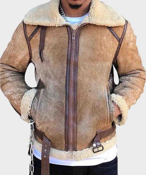 Mens B3 Tan Brown Shearling Sheepskin Leather Jacket
