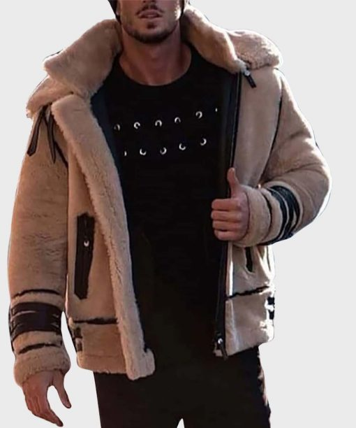 Mens Style Brown Zipper Shearling Winter Leather Jacket