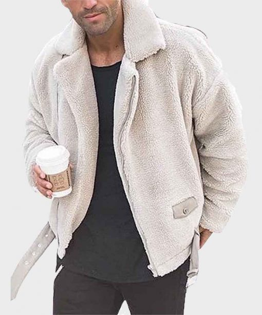 Mens Shearling White Zipper Jacket