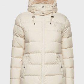 Cream Stylish Hooded Mens Winter Puffer Jacket