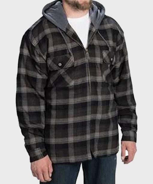 Mountain Ridge Black Cotton Checkered Jacket