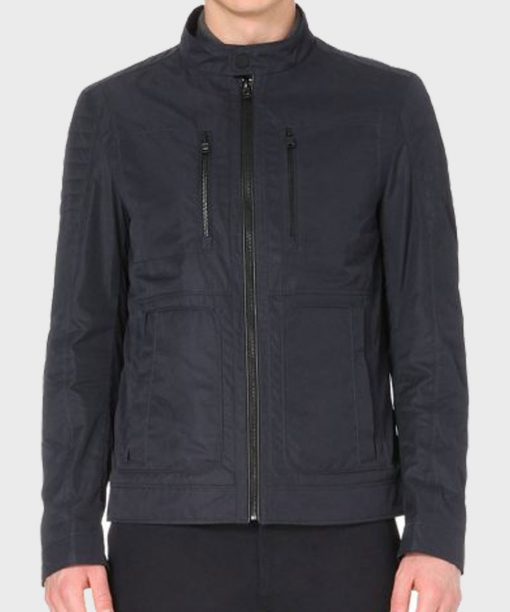 Oliver Zip Shell Black Cotton Jacket