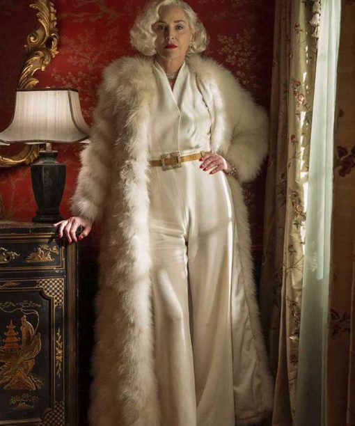 Ratched Sharon Stone White Fur Long Coat