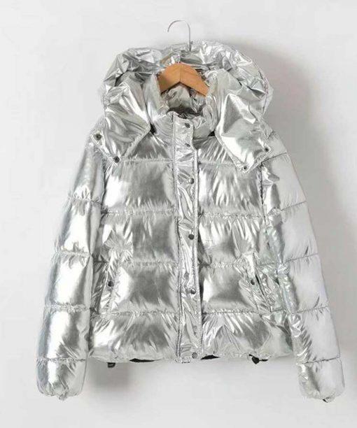 Metallic Puffer Silver Jacket with Hood