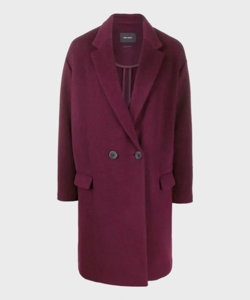 The Flight Attendant Annie Maroon Wool-Blend Coat