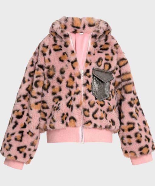 Womens Animal Print Faux Fur Bomber Jacket
