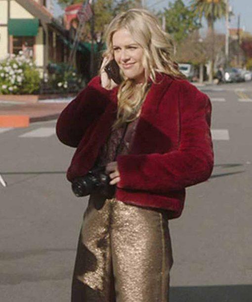 A Very Charming Christmas Town Natalie Hall Maroon Fur Jacket