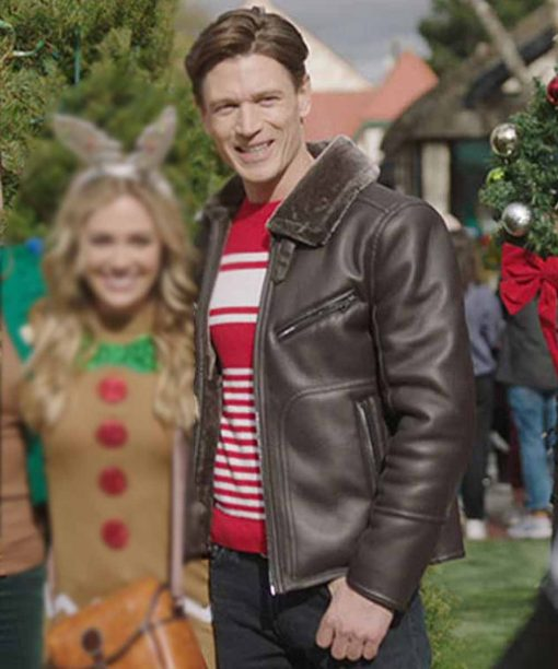 A Very Charming Christmas Town Jon Prescott Brown Leather Jacket