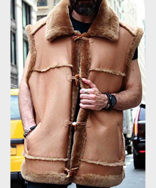 Mens Camel Shearling Fur Vest