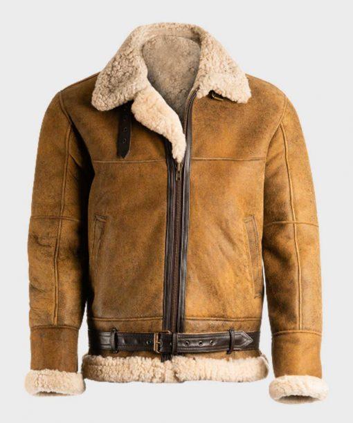 Mens Avaitor Sheepskin Shearling Brown Bomber B3 Jacket