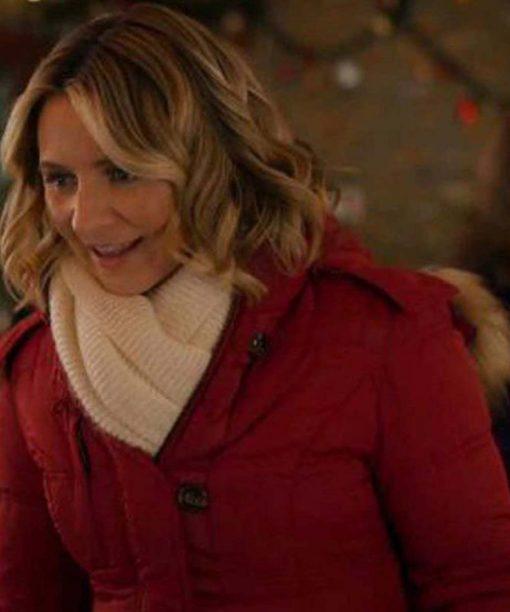 Phoebe Saunders Candy Cane Christmas Maroon Coat
