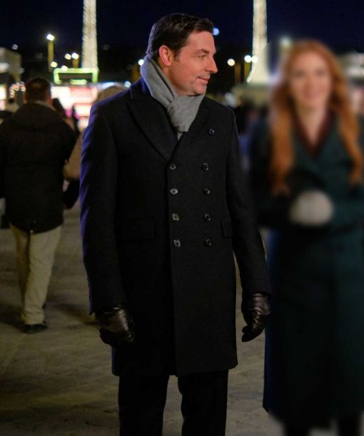 Brennan Elliott Christmas in Vienna Black Double-Breasted Coat