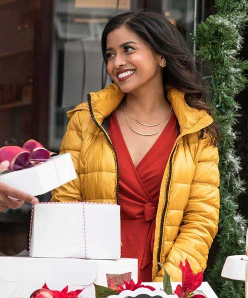 Christmas on Wheels Tiya Sircar Yellow Puffer Jacket
