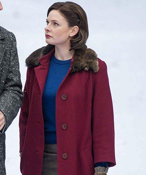 Despite The Falling Snow Rebecca Ferguson Maroon Trench Coat