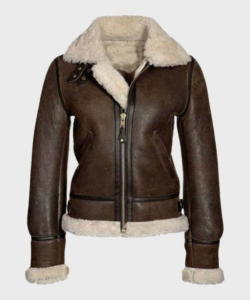 Brown Aviator Shearling Leather Jacket