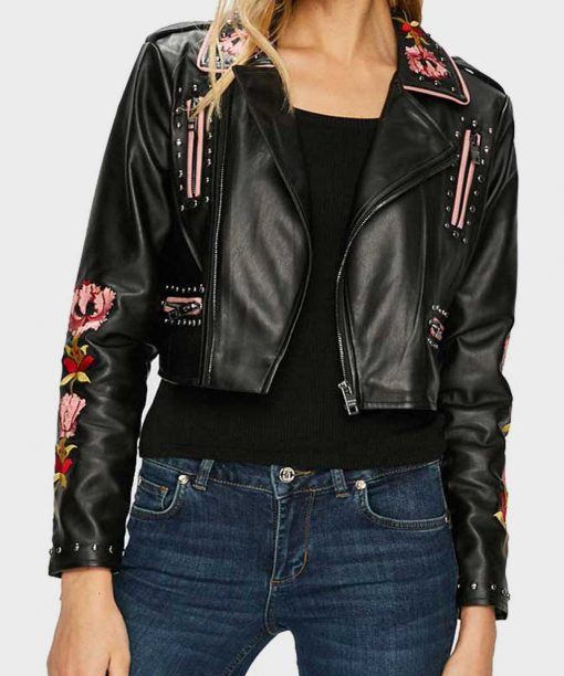 Elite S02 Ester Exposito Black Embroidered Leather Jacket