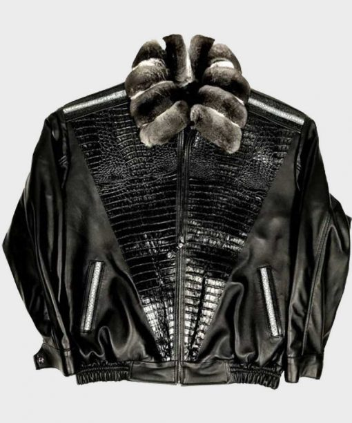 Frank Black Alligator trimming Jacket With Chinchilla Collar