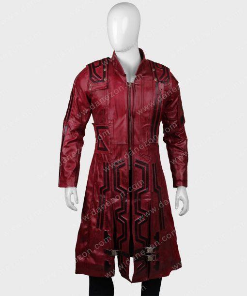 Guardians Of The Galaxy Vol 2 Chris Pratt Maroon Leather Coat