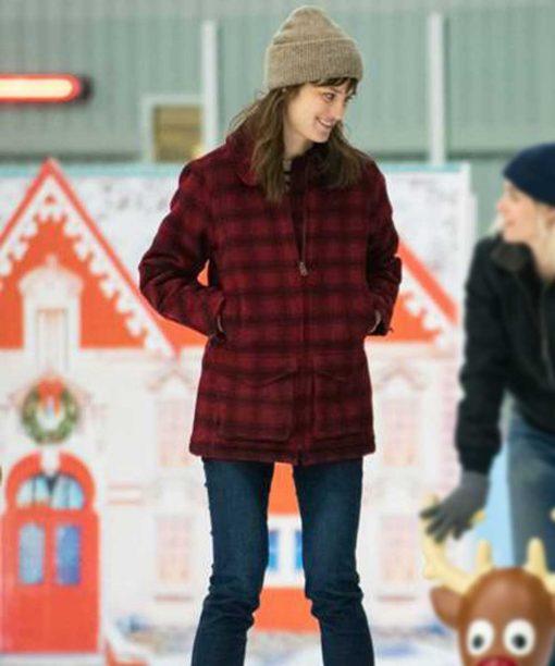 Happiest Season Mackenzie Davis Red Checkered Coat