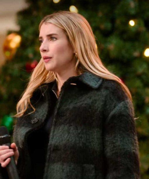 Holidate (2020) Emma Roberts Flannel Coat