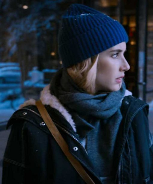 Emma Roberts Holidate Black Shearling Jacket