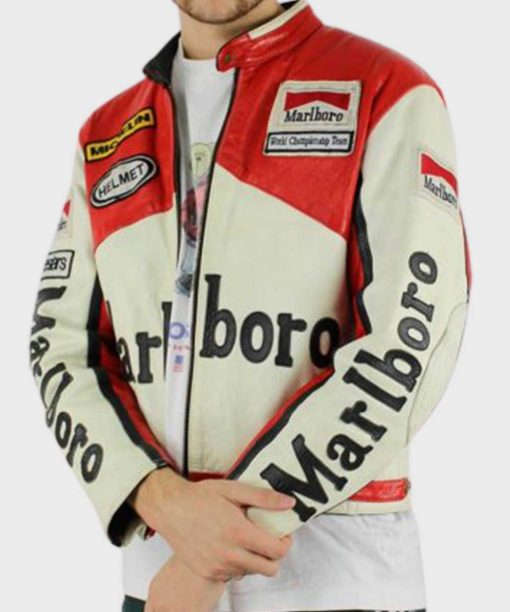 Red and White Vintage Racing Marlboro Leather Jacket