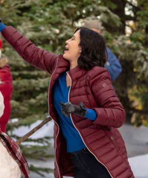 Meet Me at Christmas Catherine Bell Maroon Puffer Coat